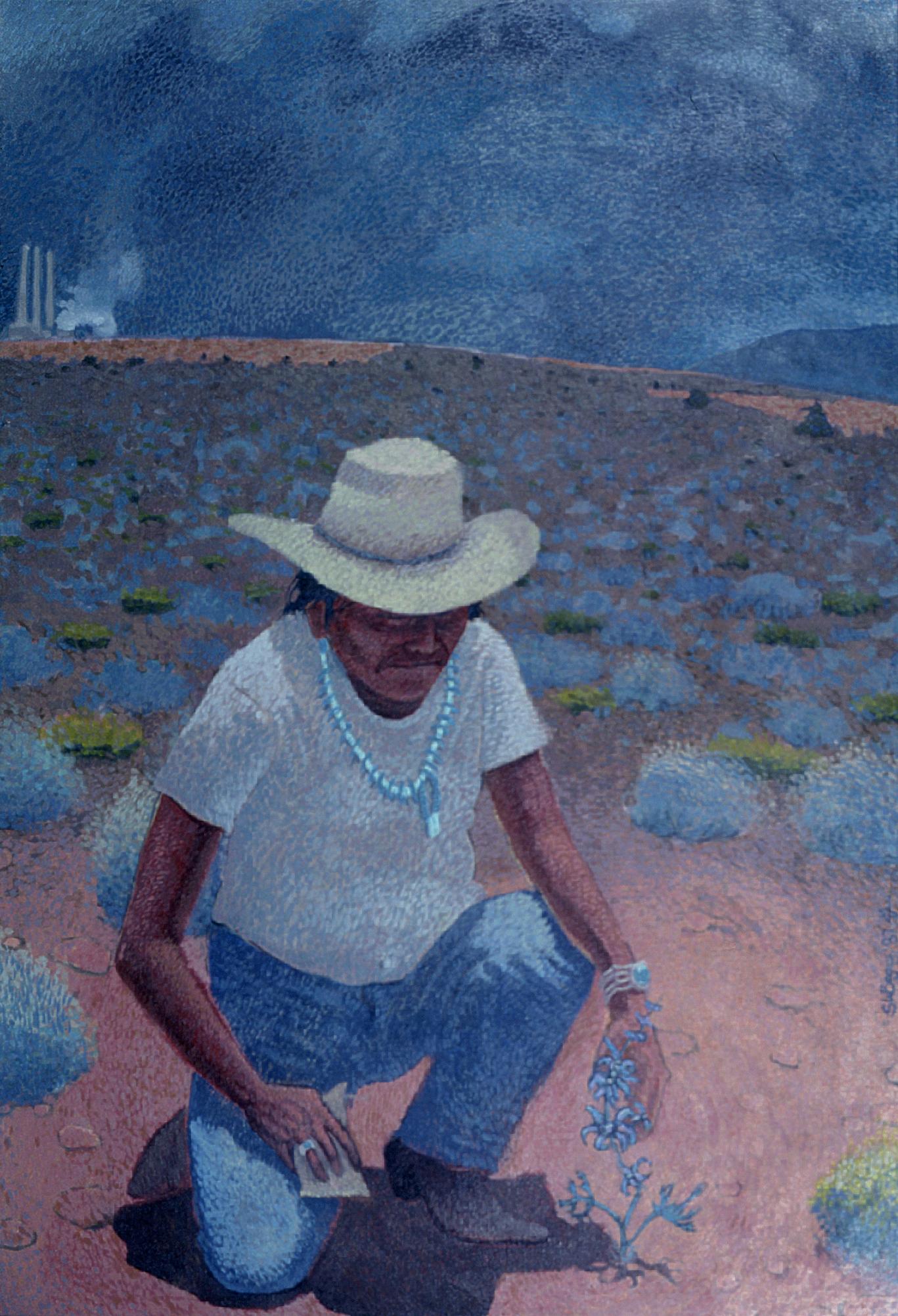 Navajo Power Plant (1990) -by- Shonto W. Begay Navajo Oil or Acrylic on Canvas  Catalog No.: 2000-186-023
