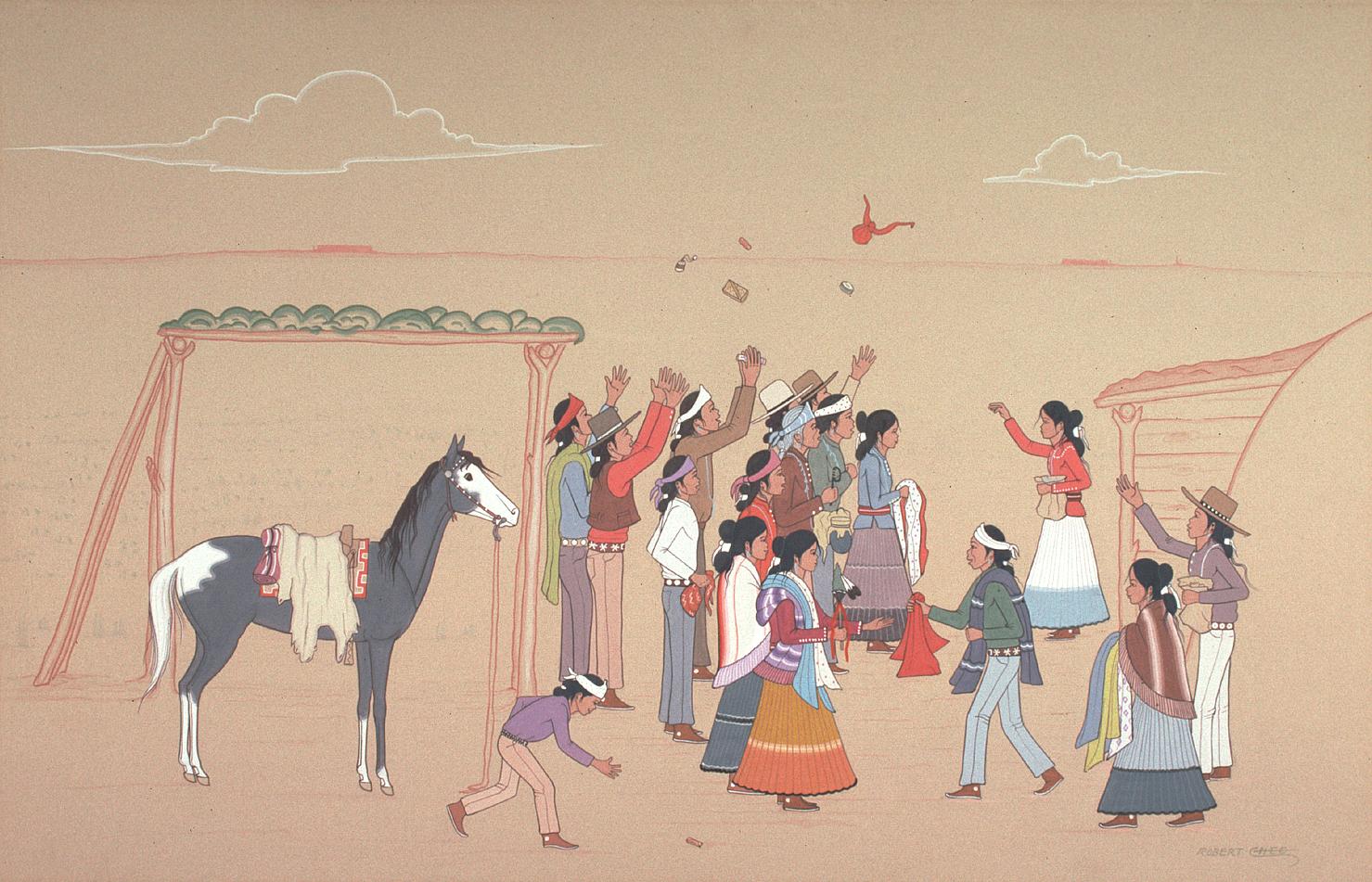 Navajo Gift Song (1967) -by- Robert Chee (Hashke-Yil-E-Cale) Navajo Casein on Board  Catalog No.: 2000-186-046