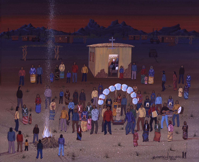St. Francis Feast Celebration, October 4 (1986) -by- Michael Chiago Tohono O'odham / Maricopa / Pima Watercolor on Board  Catalog No.: 2000-186-059