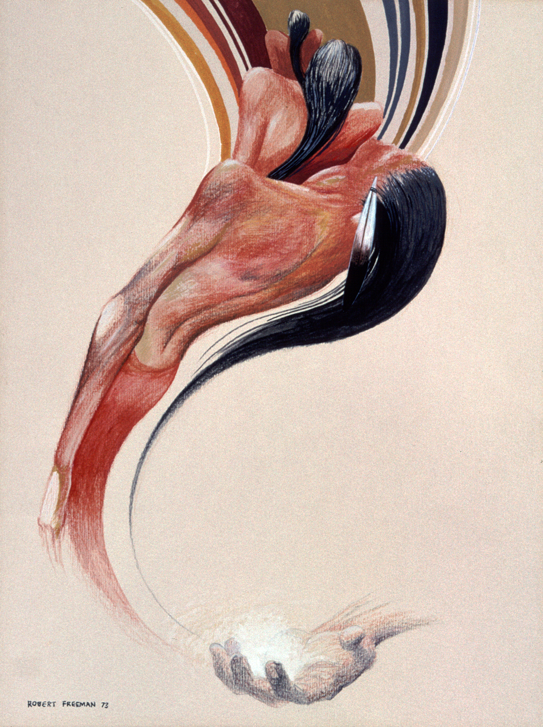 Of Clay (1973) -by- Robert Freeman Luiseno / Sioux Pencil and Watercolor on Paper  Catalog No.: 2000-186-071