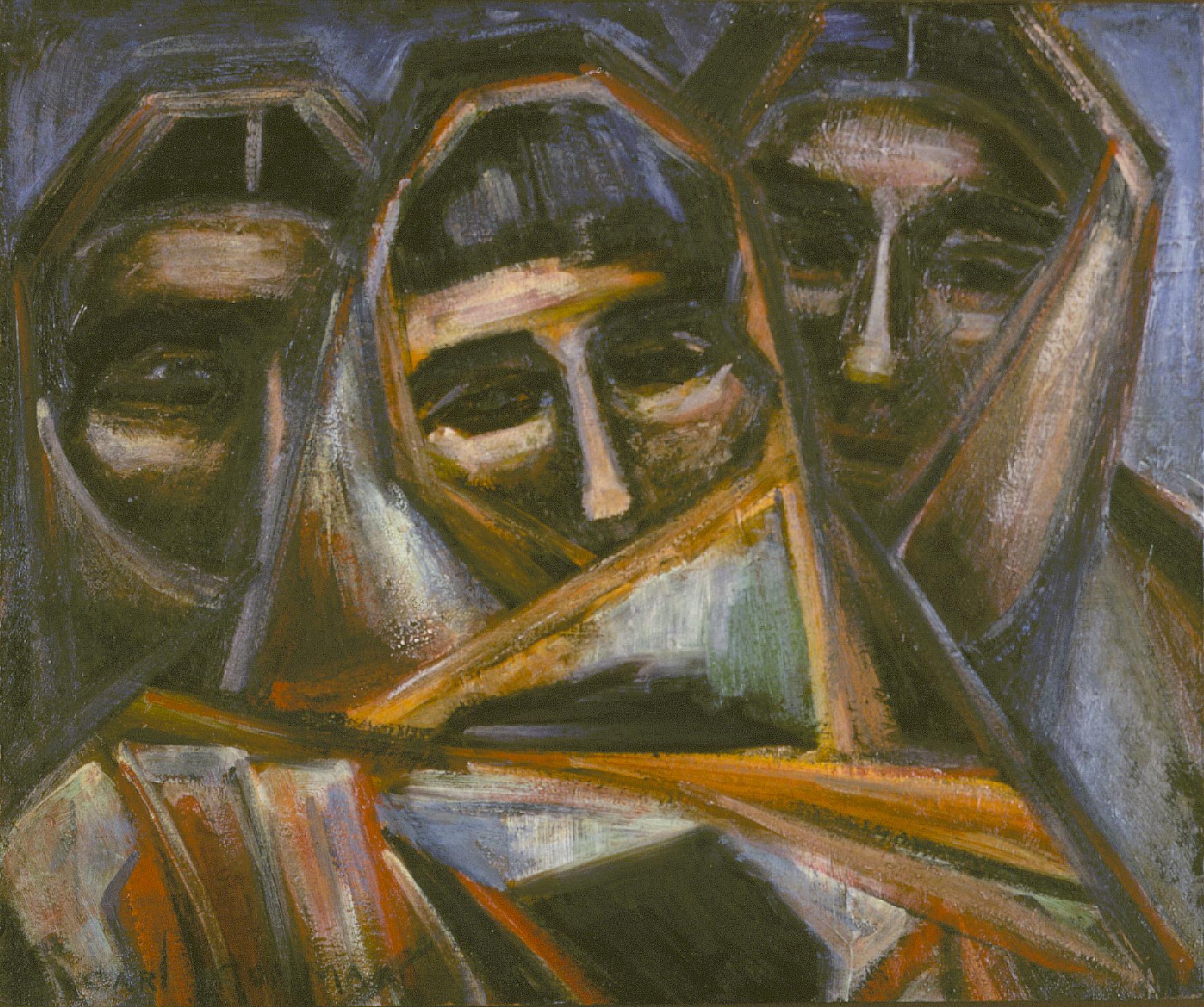 Keis-onnies (1966) -by- Carl Gorman (Kinyeonny Beyeh) Navajo Encaustic on Board  Catalog No.: 2000-186-075