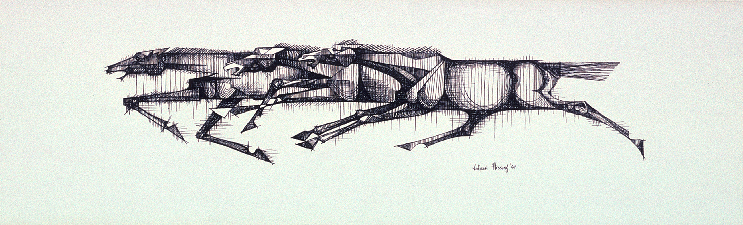 The Runaways (1969) -by- Valjean Hessing Choctaw Pen and Ink on Board  Catalog No.: 2000-186-087