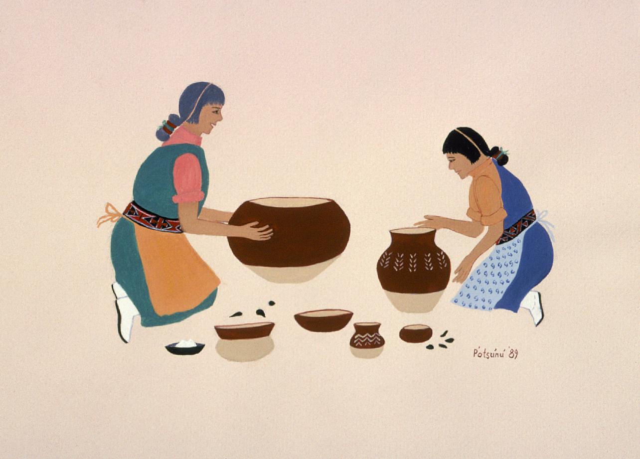 San Juan Pottery Makers (1989) -by- Gerónima Cruz Montoya (P'otsúnú) San Juan Casein on Paper  Catalog No.: 2000-186-149