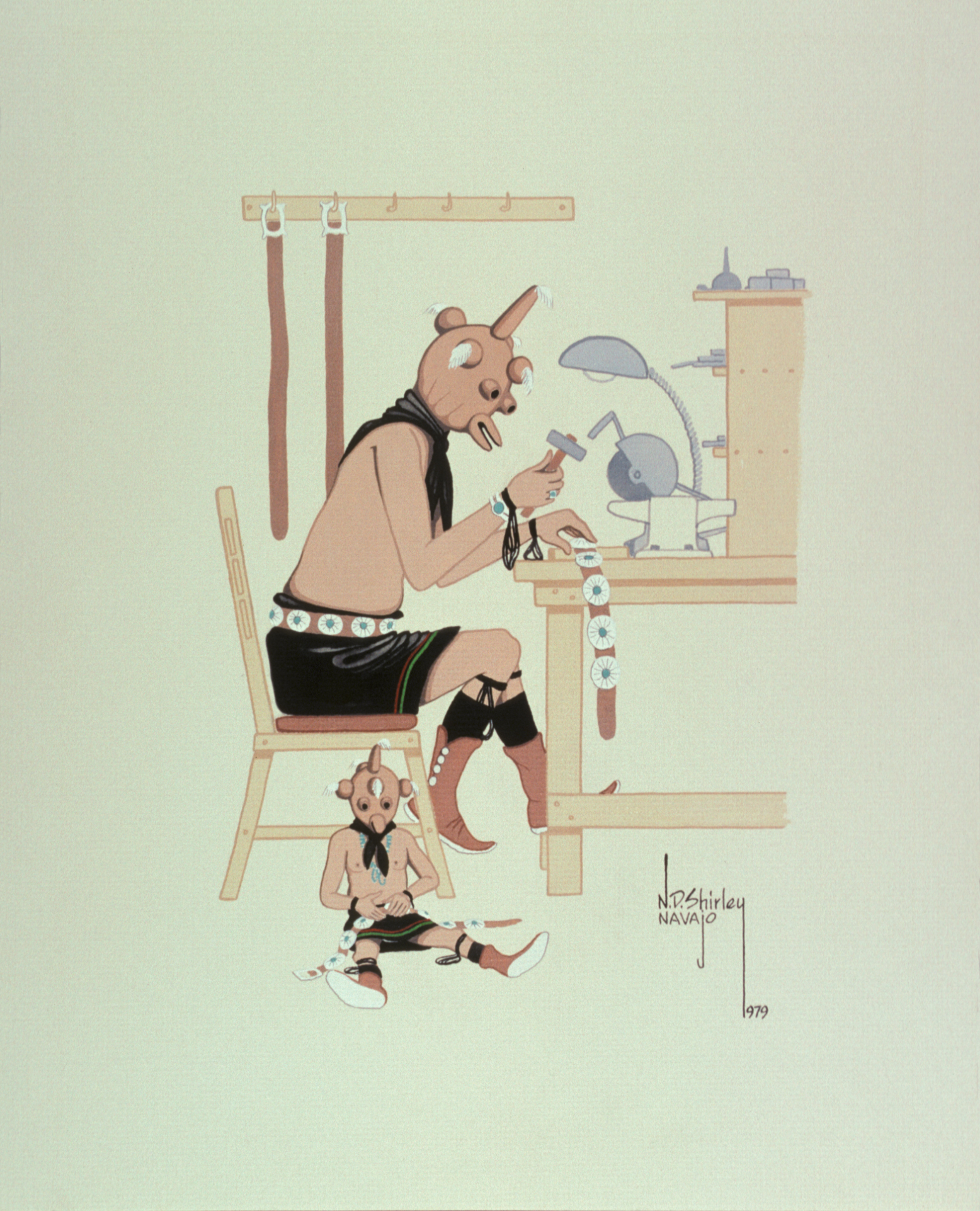 Mudhead Belt Makers (1979) -by- Nelson D. Shirley (Hashkay-ha-nah) Navajo Watercolor on Board  Catalog No.: 2000-186-198