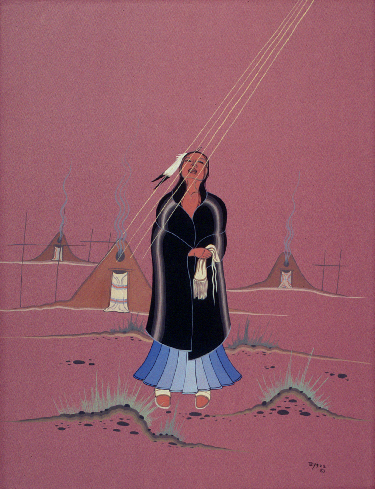 Praying to the Morning Sun (1959) -by- Jimmy Toddy (Beatin Yazz) Navajo Casein on Board  Catalog No.: 2000-186-211