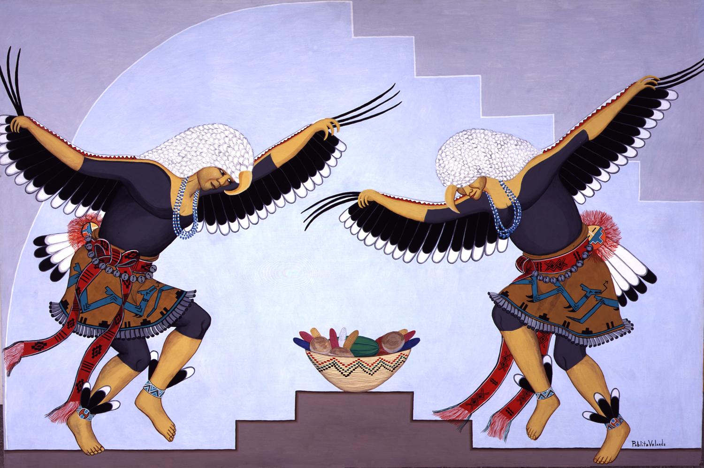 Eagle Dancers (1967) -by- Pablita Velarde (Tse Tan) Santa Clara Casein on Masonite  Catalog No.: 2000-186-228