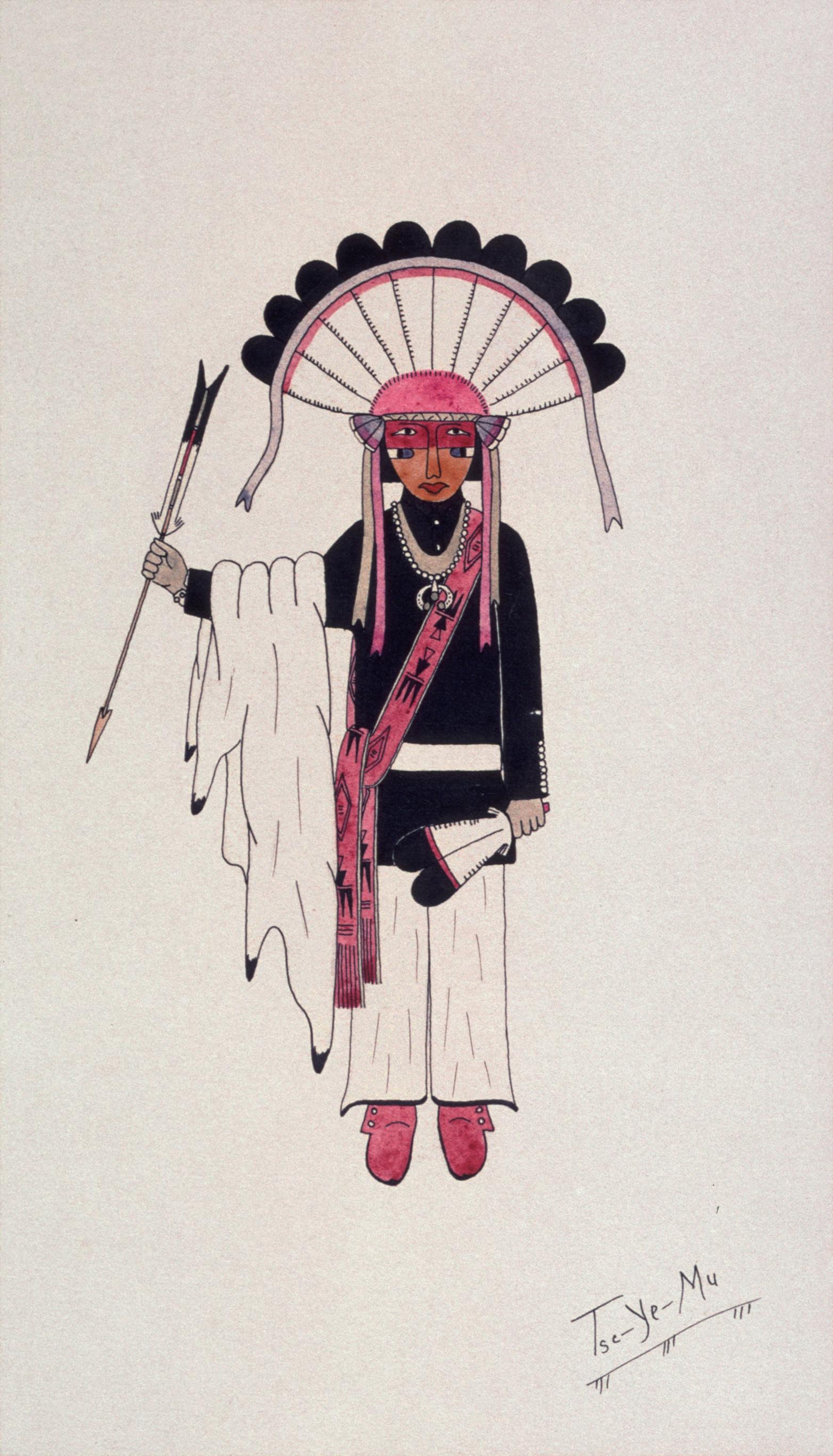 Pueblo Dancer (1935) -by- Romando Vigil (Tse Ye Mu) San Ildefonso Watercolor on Paper  Catalog No.: 2000-186-234