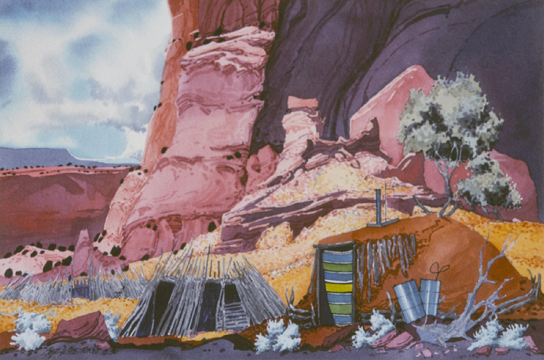 Beneath Majesty -or- At Home with Majesty (1986) -by- Baje Whitethorne, Sr. Navajo Watercolor on Paper  Catalog No.: 2000-186-239