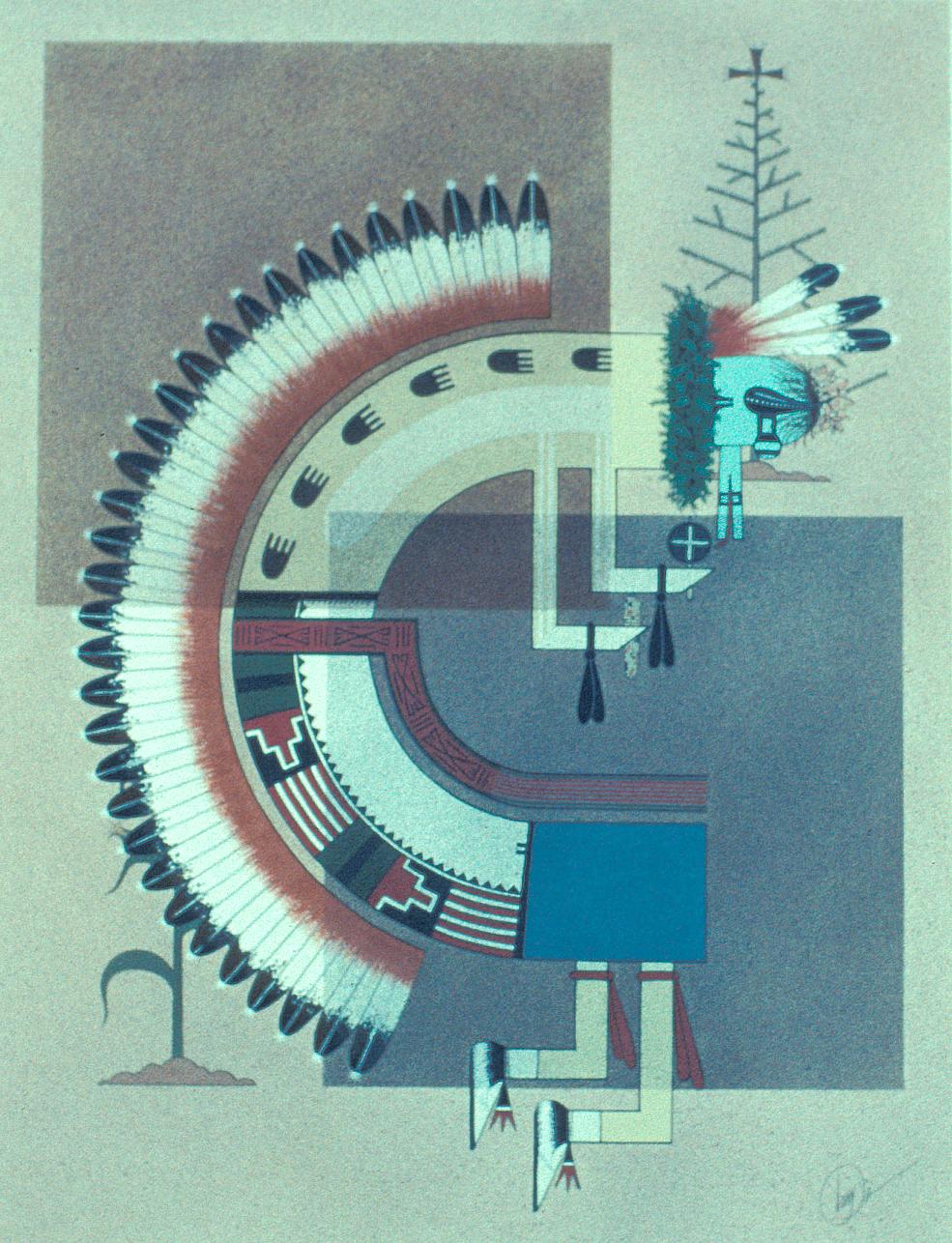 Messenger Kachina (1967) -by- Tony Da San Ildefonso Casein on Paper  Catalog No.: 2001-176-010