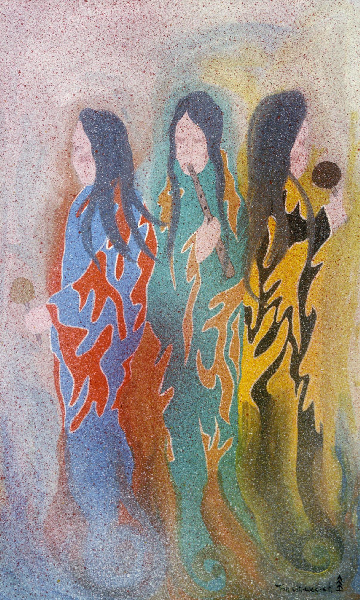 Medicine Fire (1965) -by- Helen Hardin (Tsa Sah Wee Eh) Santa Clara Casein on Board  Catalog No.: 99-252-005