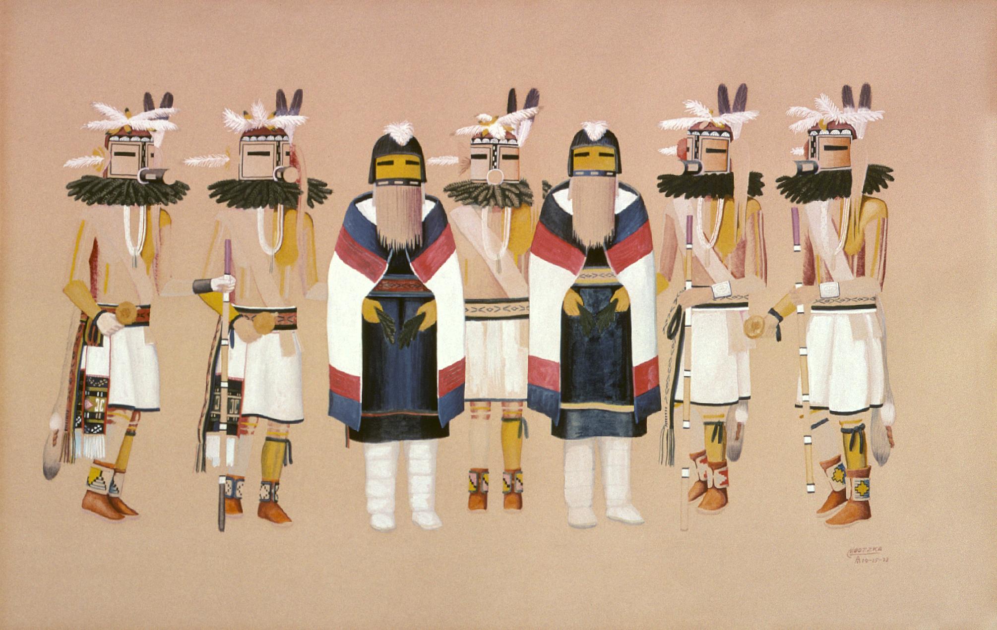 Mixed Dance (1935) -by- Waldo Mootzka (Mootska) Hopi Watercolor on Paper  Catalog No.: 99-252-009