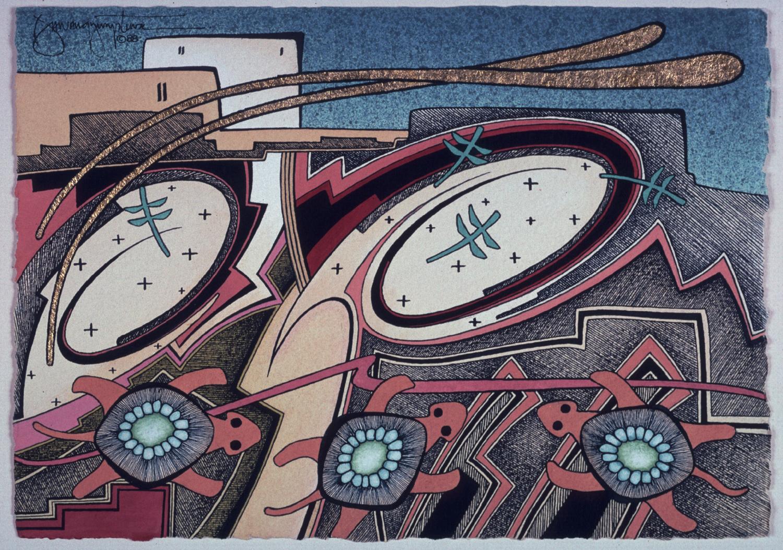 Flight of the Dragonflies (1988) -by- David Dawangyumptewa Hopi / Navajo Watercolor on Paper  Catalog No.: 2000-186-066