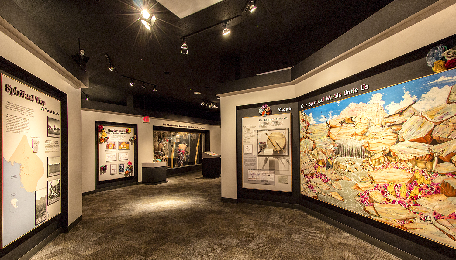 This image shows a view of the Yoeme section within the Paths of Life exhibit.