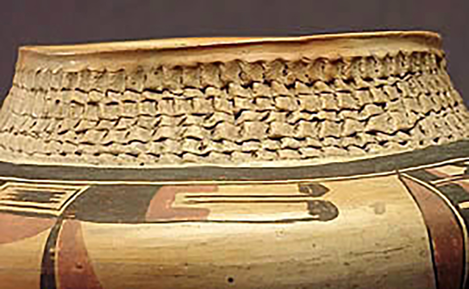 Detail, polychrome jar with corrugated neck, around 1920. ASM E-2273.