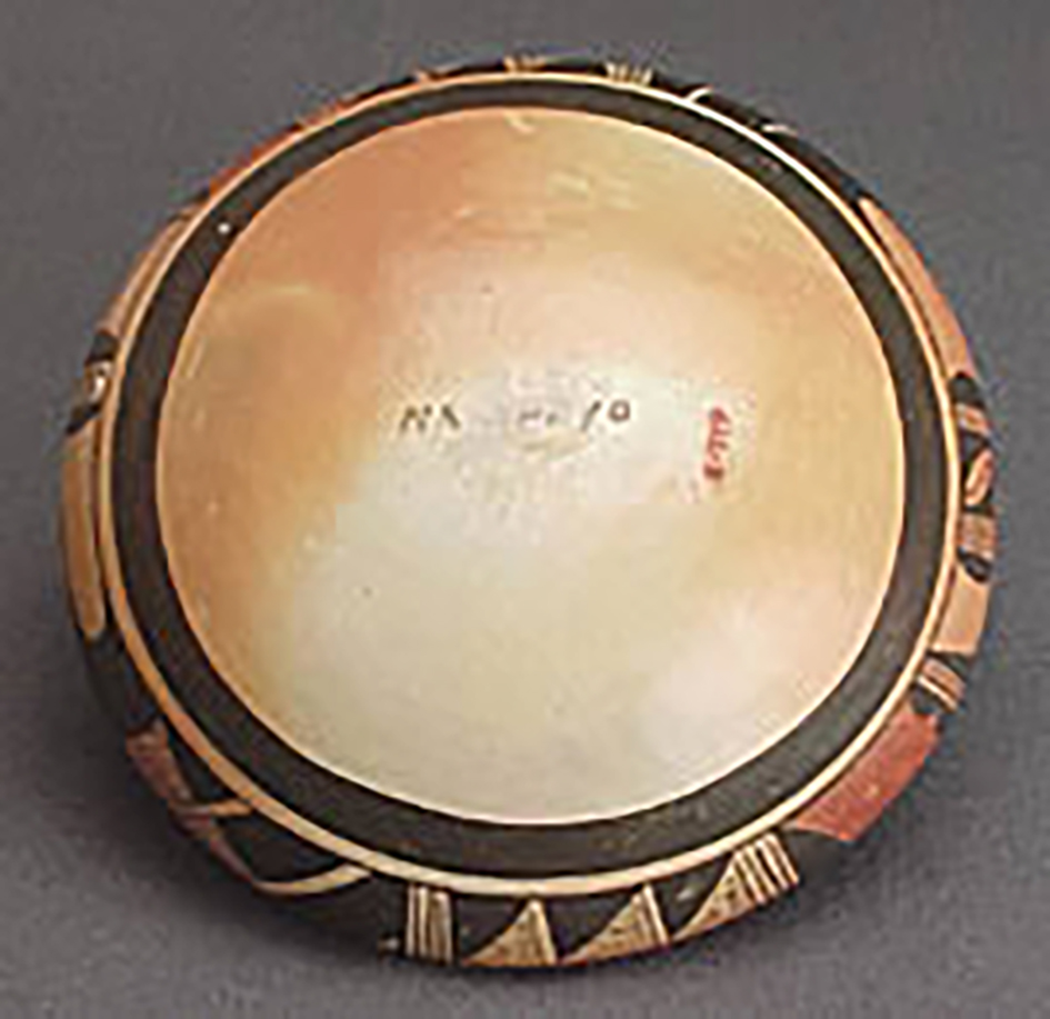 Top view, low polychrome jar, collected 1934. ASM E-719.