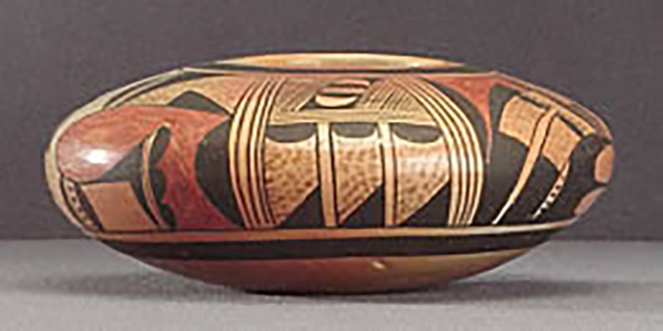 Side view, low polychrome jar, collected 1934. ASM E-719.