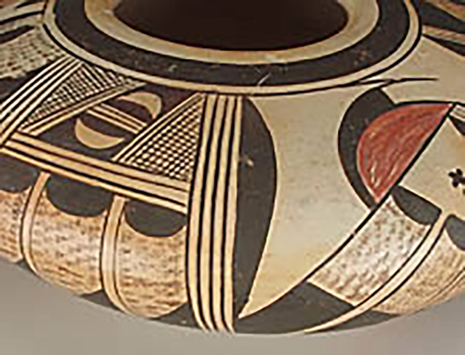 Shoulder detail, low polychrome jar, collected 1934. ASM E-719.