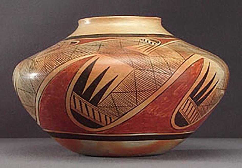 Side view, polychrome jar with migration design, around 1930. GP52534.
