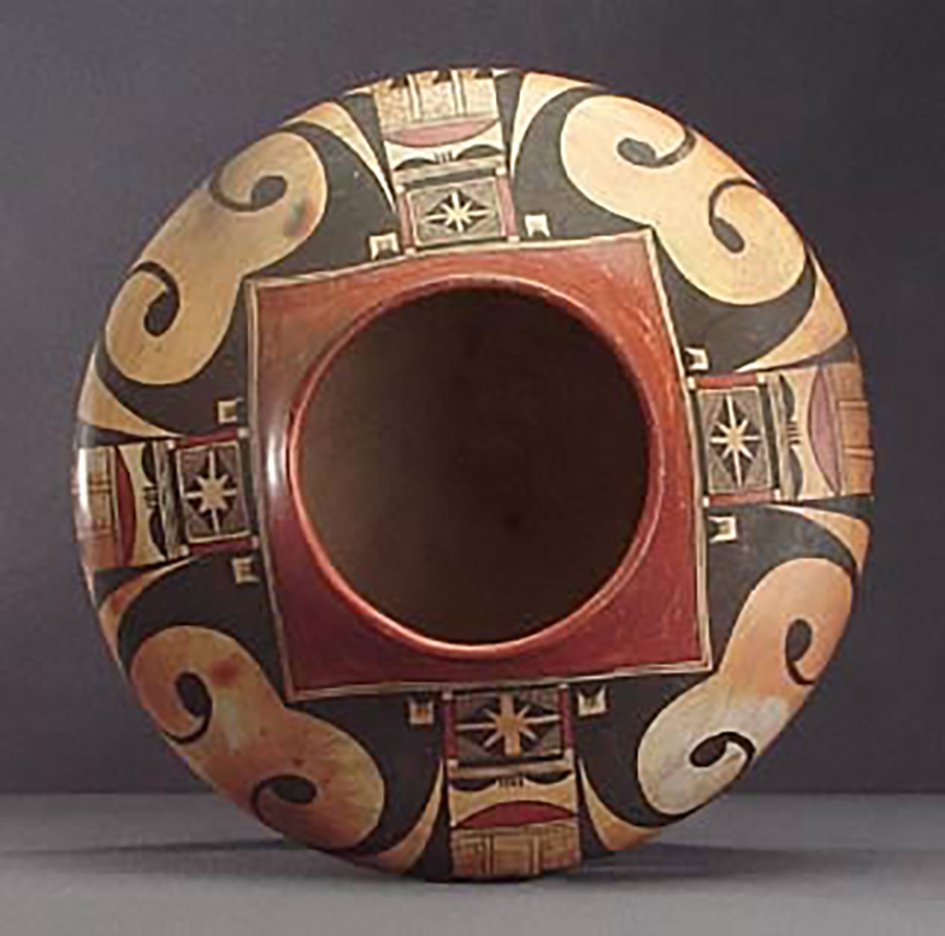 Top view, polychrome jar with abstracted eagle motifs, around 1920? GP52535-x-2