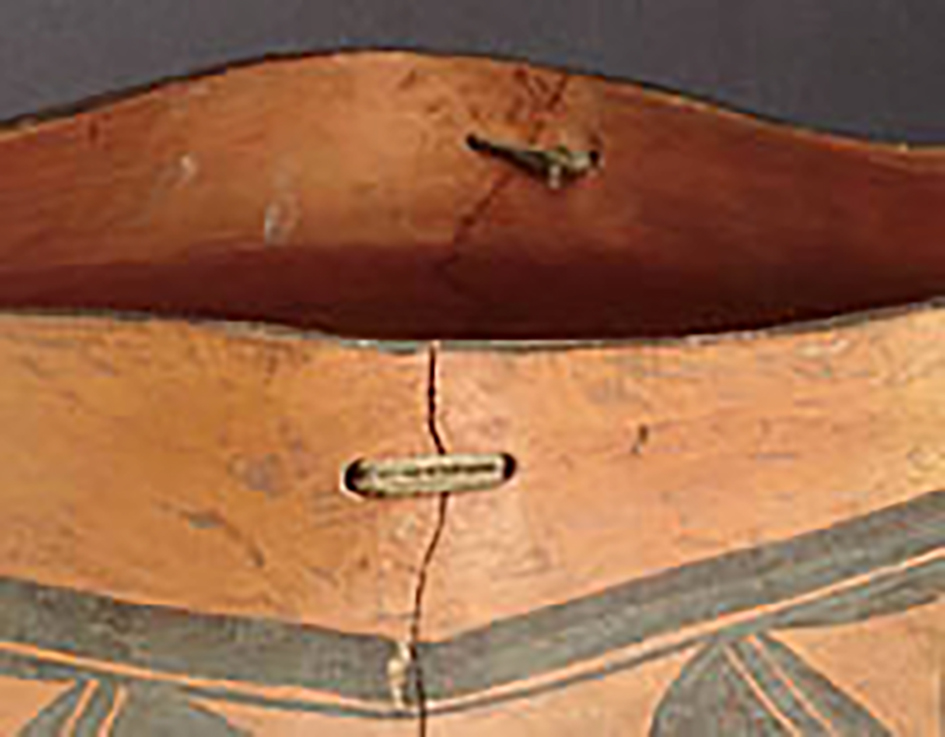 Detail, large square top polychrome olla, around 1920-30. GP52543.