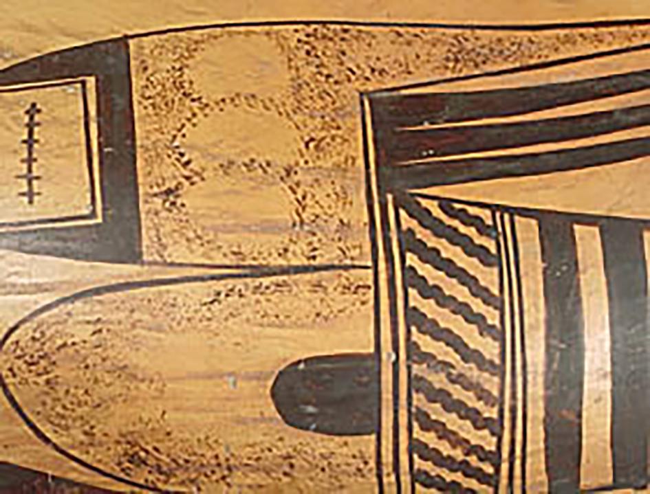 Detail, large polychrome olla, around 1920. GP6217.