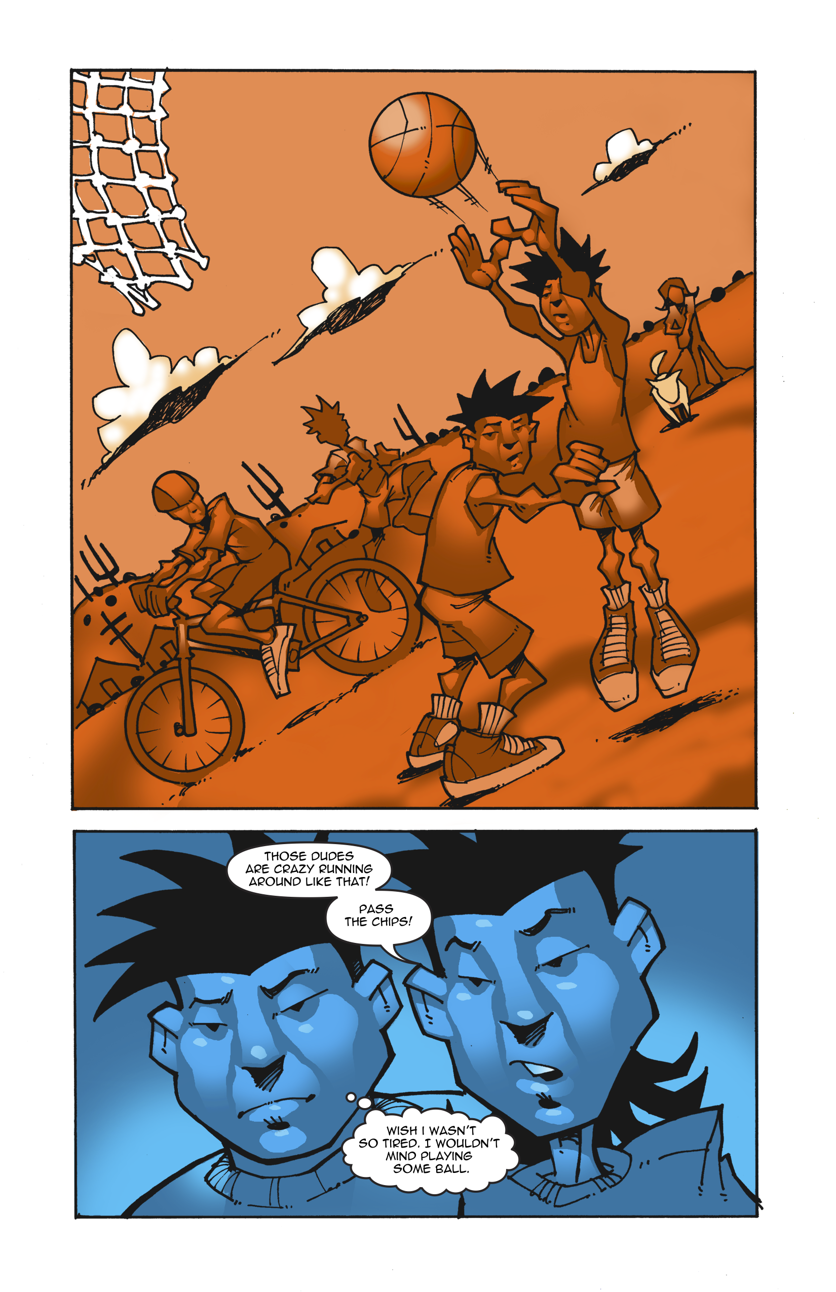 Page 2. Tomas thinks others are crazy for playing basketball and riding bikes. Brandon says he wishes he weren't so tired because he'd like to do those activities.
