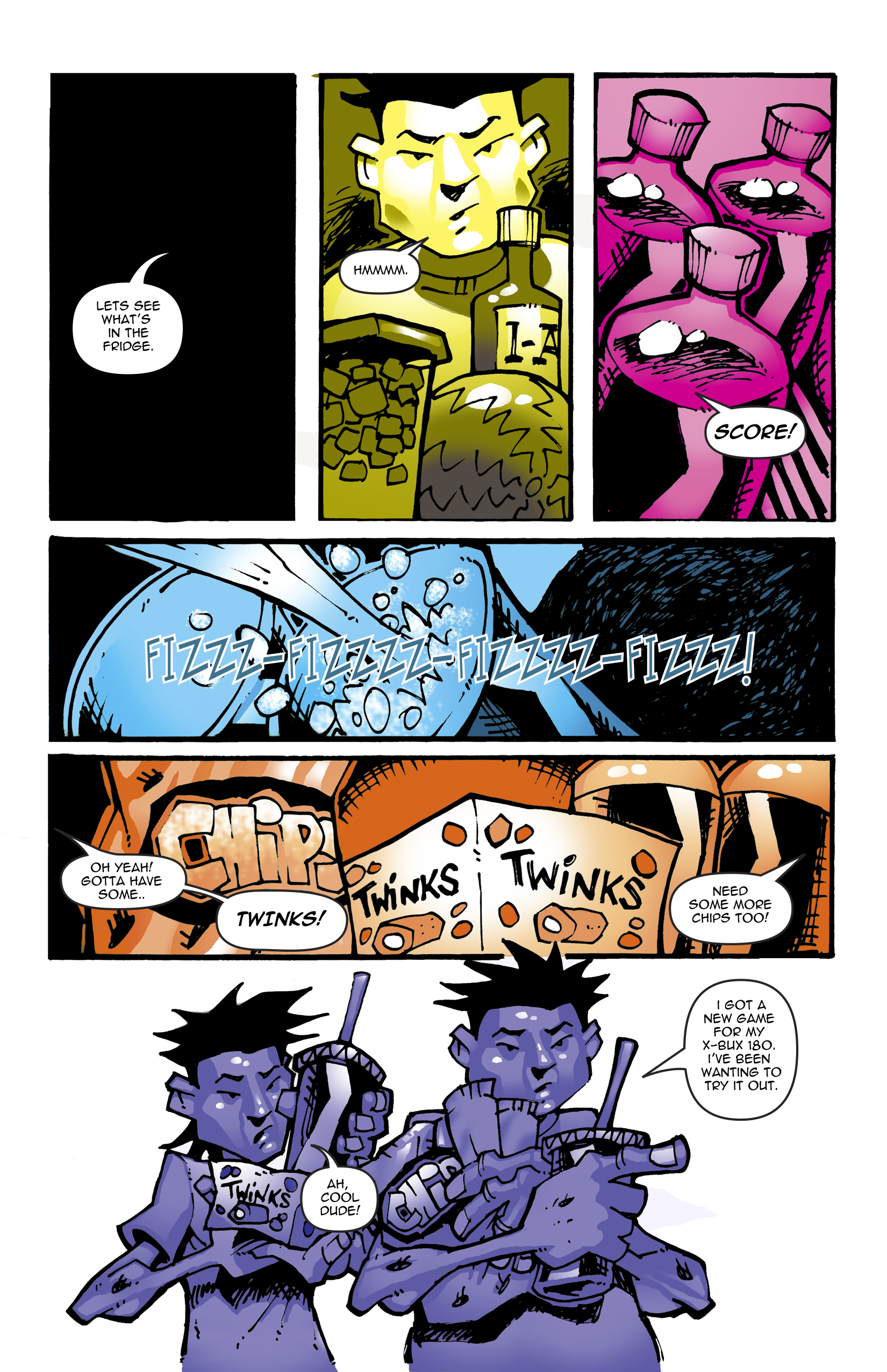 Page 8. They boys turn their attention to raiding the refrigerator for more soda and junk food.