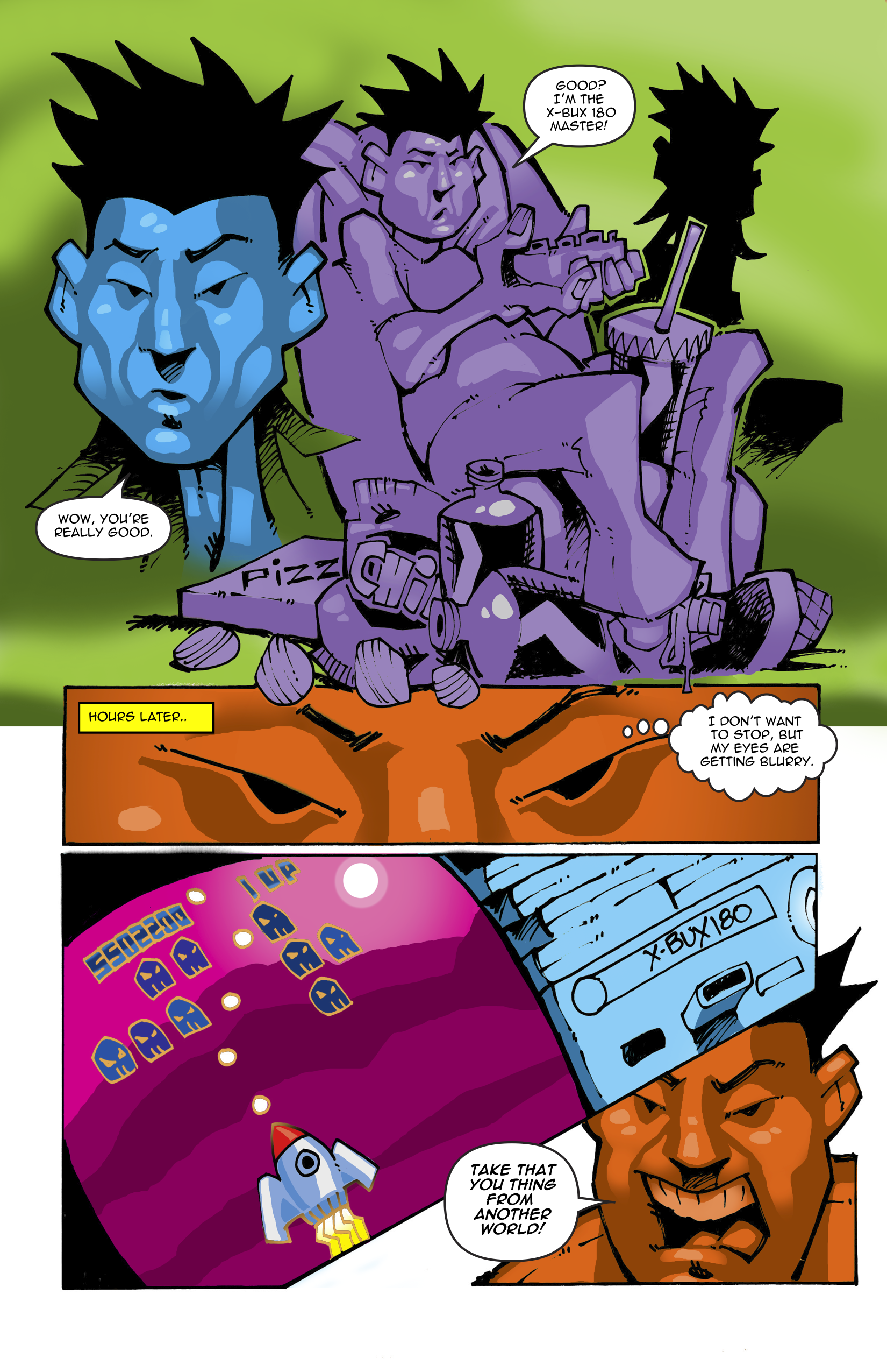 Page 9. They continue to sit on the couch playing video games. Brandon starts to get sleepy.