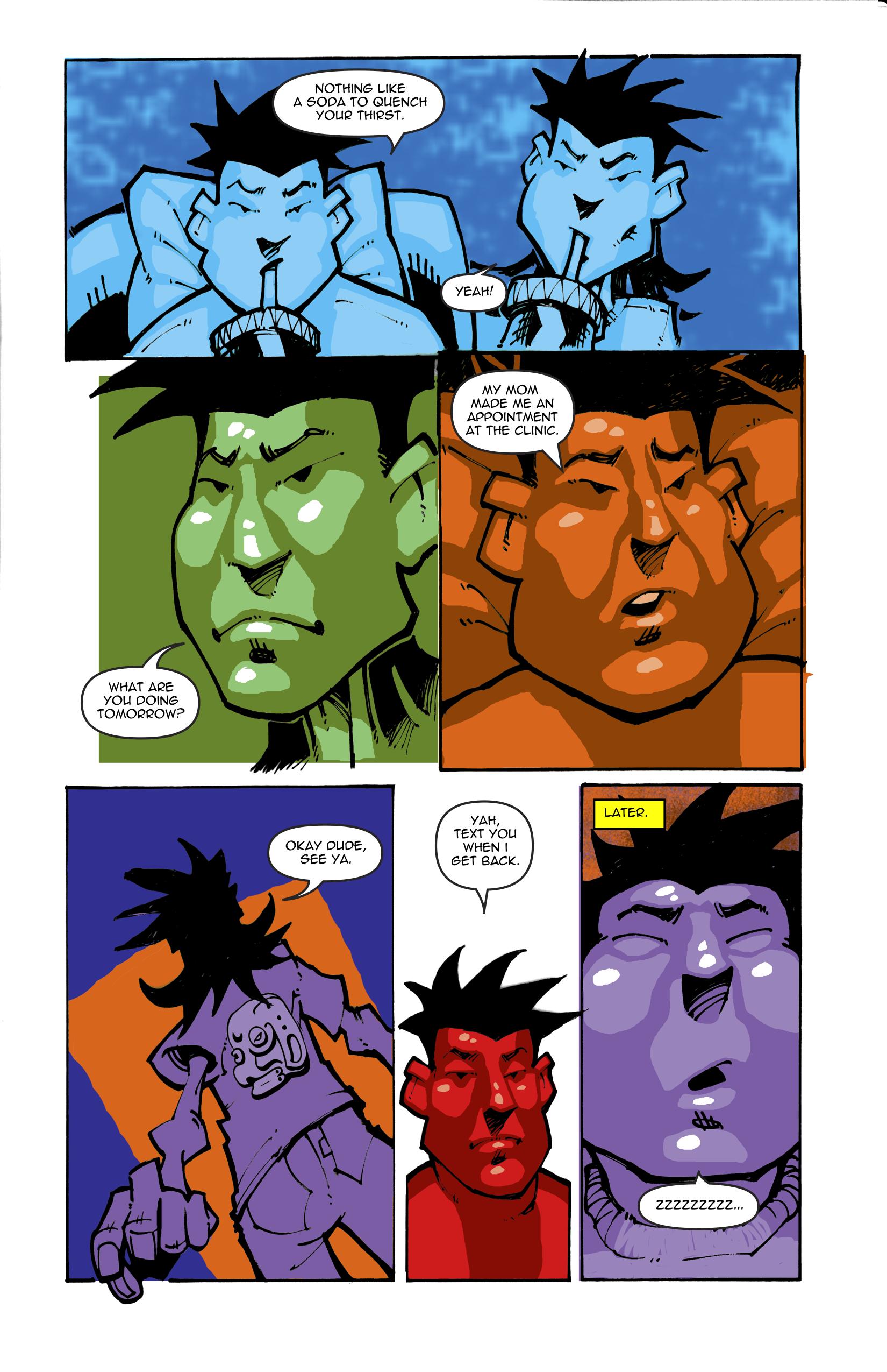 Page 10. Tomas leaves to go home. Brandon falls asleep.