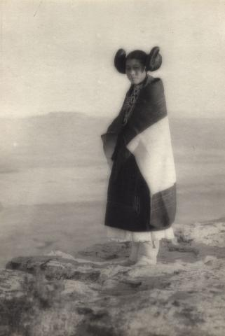 Girl dressed in traditional manta, Walpi, First Mesa, Hopi Reservation, Arizona. Forman Hanna, photographer, c. 1920