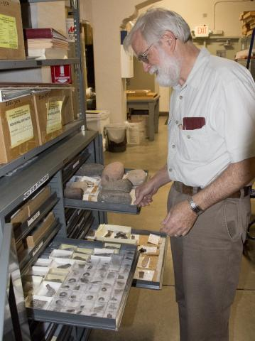 This is a picture of Arthur Vokes. He manages the archaeological repository and its collections.