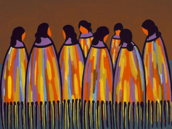 Navajo Maidens (1970) -by- Manfred Susunkewa Hopi Casein on Board  Catalog No.: 2000-186-202