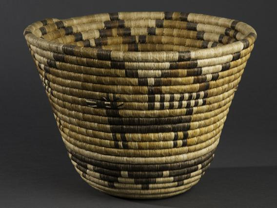 Coiled bowl with antelope and cloud design, yucca and galleta grass, ca. 1945. Donated by Judith and Andrew Finger, 2018