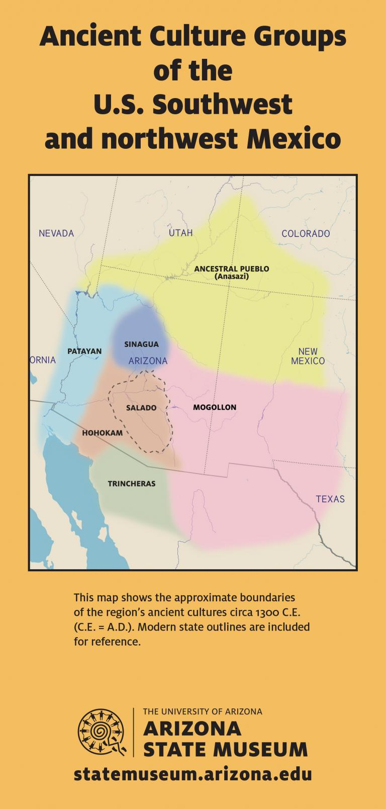 This map shows the approximate boundaries  of the region's ancient cultures circa 1300 C.E. (C.E. = A.D.).