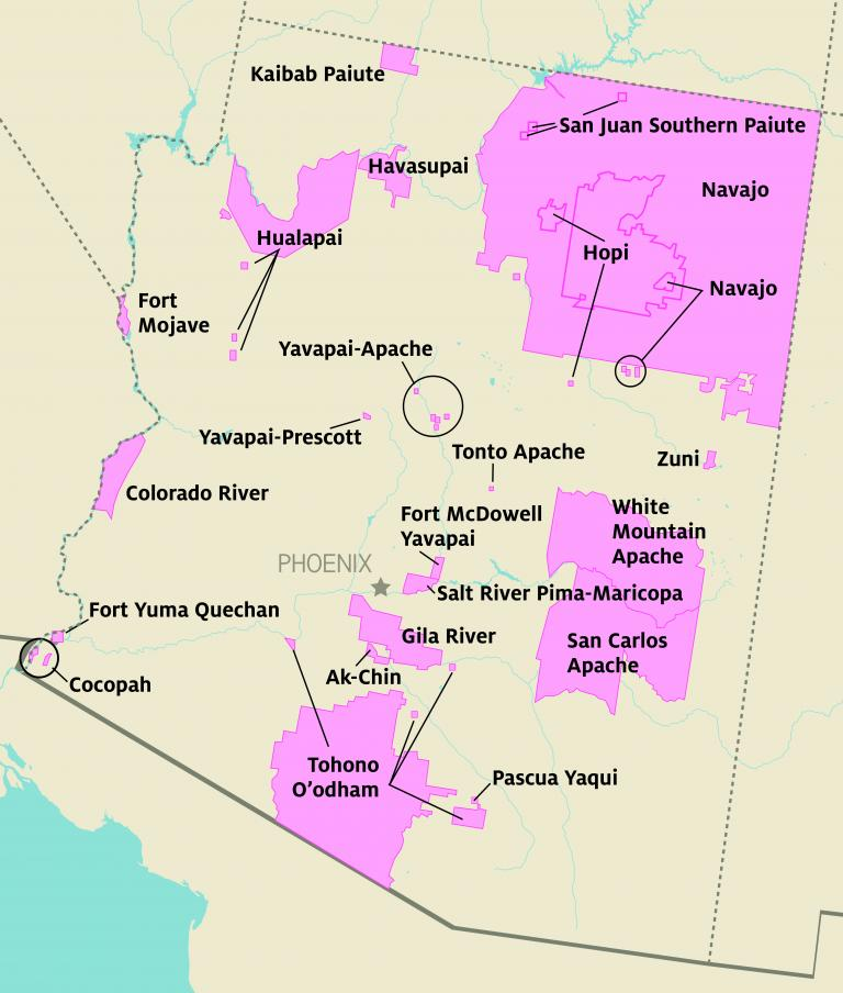 this photo is a map of Arizona showing the locations of tribal communities