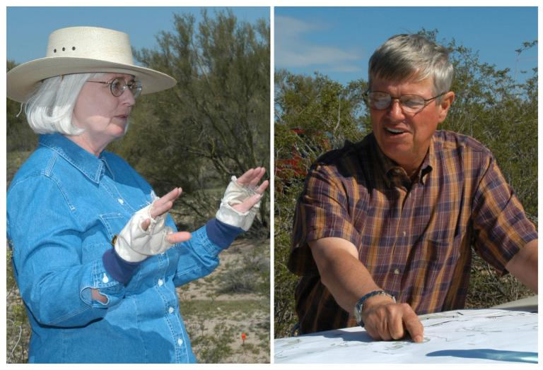Dr. Suzanne Fish and Dr. Paul Fish in the field at Marana Mound in Marana, Arizona.