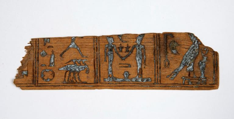 Ancient Egyptian senet board fragment from ASM's permanent collections.